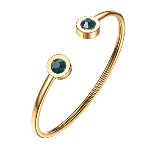 PROSTEEL May Birthstone Emerald Cuff Bracelet 18K Gold Plated Green Crystal Bangle Bridesmaid Girls Women Jewelry Birthday Gift