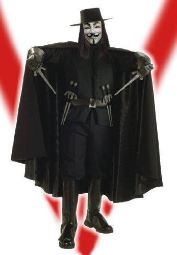V Of Vendetta Costume (V for Vendetta Grand Heritage Collection Deluxe V Costume, Black, Standard)