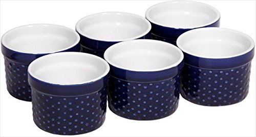 Home Essentials Set of 6 Mini Stoneware Hobnail 4 oz Ramekins - Textured Porcelain, Mousse, Creme Brulee, Custard Cups, Baking, Souffles, Quiche Cups, Cobalt - 4 Inches Unknown