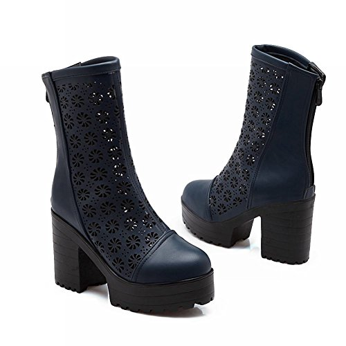 Moda Donna Latasa Scava Fuori Cerniera Posteriore Blocco Tacco Alto Stivali Piattaforma Corta, Abito Stivali Blu