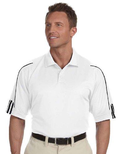adidas Golf Men's climalite 3-Stripes Cuff Polo, Medium, WHITE/BLACK