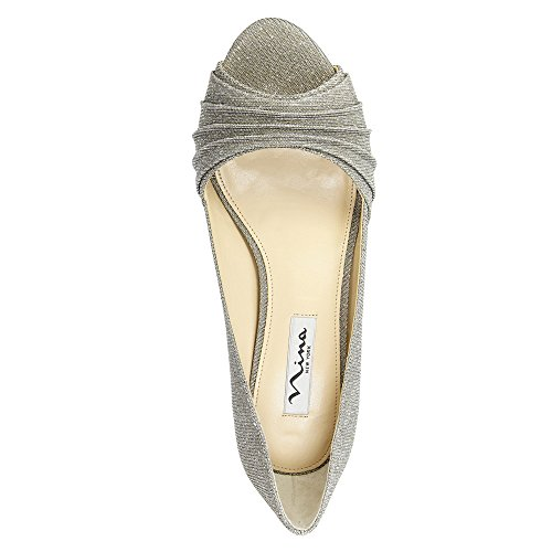 Fabric Pumps YS Nina Classic Toe Open Carolyn Womens Steel 1BBq0w6t