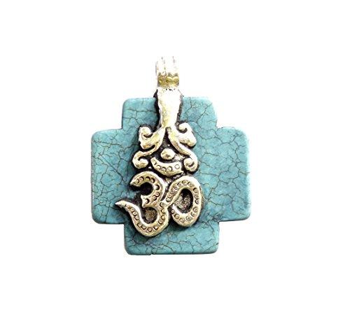 Reversible Turquoise Cross (Tibetan Silver OM CROSS PENDANT TURQUOISE GEMSTONE REVERSIBLE PENDANT HEALING AMULET BOHO PENDANT UNISEX PENDANT)