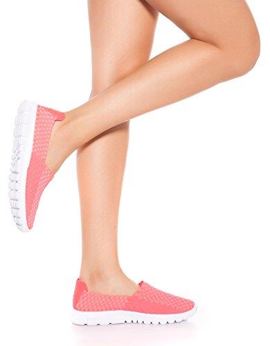 In-Style Fashion Angesagte Slip-On Sneaker mit Flecht-Optik Neonpink