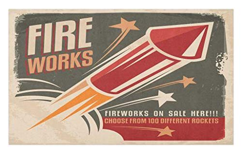 Lunarable Vintage Doormat, Retro Fireworks in Vintage Paper with Stars Rockets Western Halloween Illustration, Decorative Polyester Floor Mat with Non-Skid Backing, 30 W X 18 L Inches, Gray Red