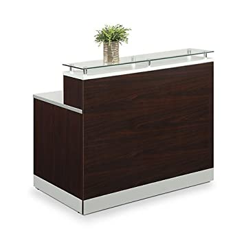 Esquire Glass Top Reception Desk 63 W x 32 D Mahogany Laminate Silver Laminate Desktop Kickplate and Accents Glass Top