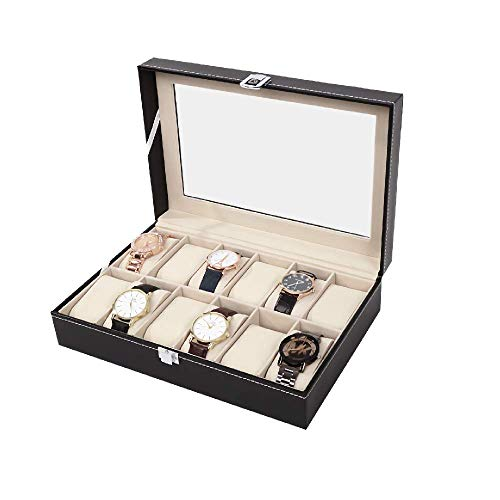YiYa Watch Box Organizer for Men Women Faux Leather Case with Glass Display 12 Slots