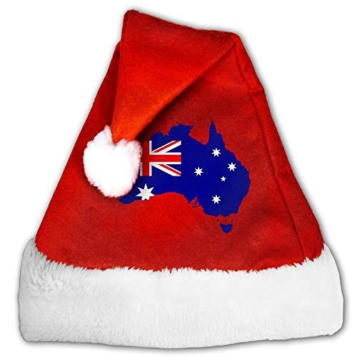 FGHJKL Australia Flag Illustration Plush Santa Hat Comfortable Double Thick Plush Red Velvet -