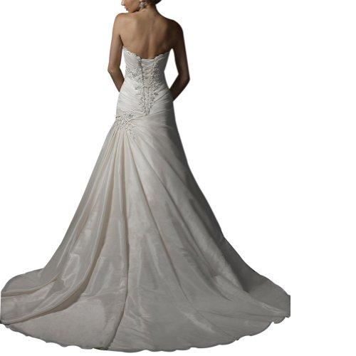 Liebsten GEORGE Elfenbein Perlen Elegante Zug Kapelle Hochzeitskleider BRIDE Prinzessin Brautkleider Taft wrqtrCUv