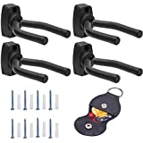 JIUZHU 4 Pieces Guitar Wall Hangers Stands Mount with Screws 3 Pieces Picks 1 Piece PU Pick Holder Case Kits for All Size Guitars, Bass, Mandolin, Banjo