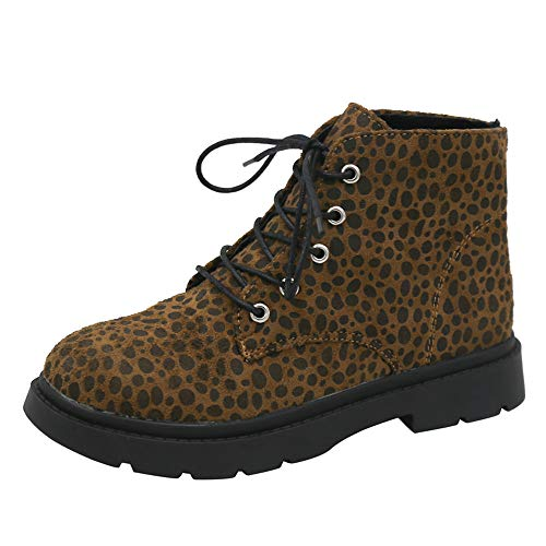 Morecome Women Square Heel Leopard Print Shoes Ankle Boot Keep Warm Fashion Boot Shoes