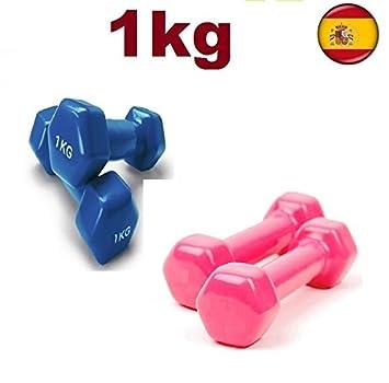 kairui 2X mancuernas pesas de 1kg cubierta en vinilo suave ejercicio gimnasia (azul): Amazon.es: Deportes y aire libre