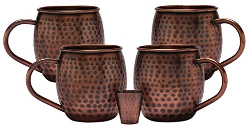 Melange 20 Oz Antique Finish Copper Barrel Mug for Moscow Mules, Set of 4 with One Shot Glass - 100% Pure Hammered Copper - Heavy Gauge - No lining - includes FREE Recipe card by Melange