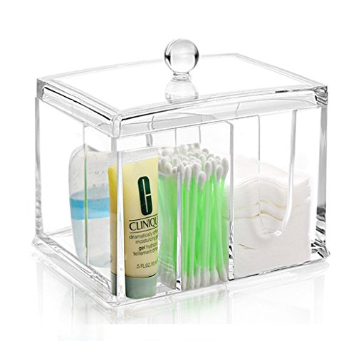 My Bathroom Canister | Deluxe All-In-One Clear Acrylic Canister with Lid, 4 Partitions To Store Cotton Swab, Makeup Pads, Jewelries, Craft/Office Supplies, and Small Items, 6.1 x 4.5 x 5.5inch