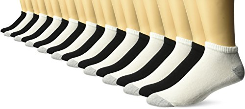 Gildan Men's Low Cut Socks, 10 Pair Pack, Black & White, Shoe Size: 6-12