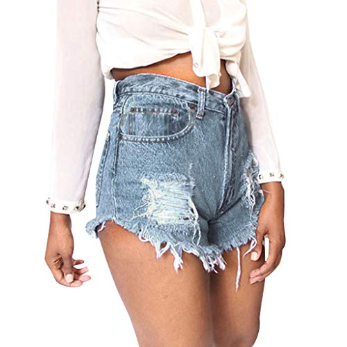 Sunyastor Women Denim Shorts Pants Ladies Summer Fashion Vintage Ripped Distressed Hole Jeans Shorts with Pockets ()