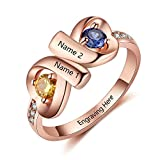 JewelOra Infinity Personalized Promise Rings for Women Engraved Names Mothers Rings with 2 Simulated Birthstones (Rose Gold, 7)