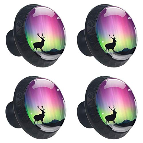 Anmarco The Northern Lights with A Deer Drawer Knobs Pull Handles 30MM 4 Pcs Glass Cabinet Drawer Pulls for Home Kitchen Cupboard