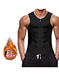 Men Waist Trainer Vest for Weight Loss Hot Neoprene Corset Body Shaper Zipper Sauna Tank Top Workout Shirt,L