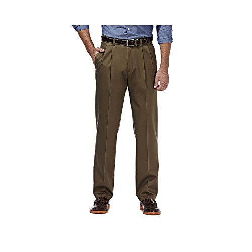 Haggar Premium No Iron Stretch Classic Fit Pleated Pants Toast 34x31 by Haggar
