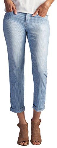 (LEE Women's Easy Fit Cameron Cuffed Capri Jean, Bleach Railroad Stripe,)