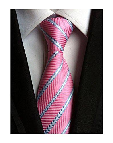 Men Repp Stripe Pink and Blue Silk Ties Slim cut Summer Office Designer Neckties ()