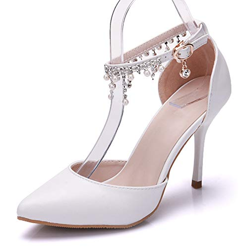 """Dress First Pointed Toe Pumps High Heel Ankle Strap Shoes Wedding Party Pump with Pearl 3.54"""" ()"""