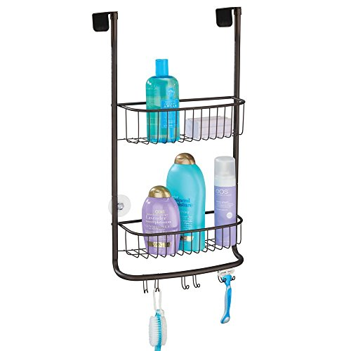 mDesign Over-Shower-Door Shower Caddy for Shampoo, Loofahs, Conditioner - Bronze