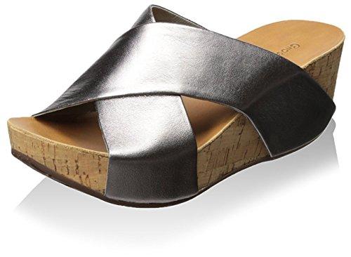 Chocolat Blu Womens Melissa Cork Platform Wedge Metallic