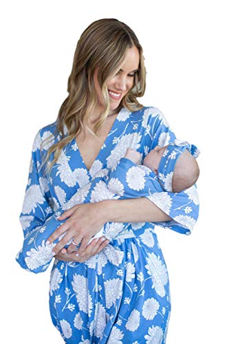 Matching Maternity/Delivery Robe with Baby Swaddle Set, Mom and Baby (Zoe Floral, L/XL pre Pregnancy 12-18) ()