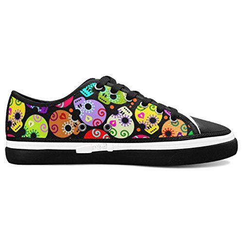 D-Story Custom Coloful Sugar Skull Women's Nonslip Canvas Shoes Fashion Sneaker