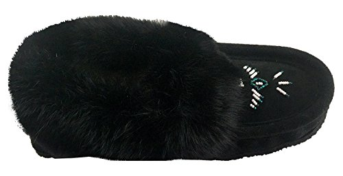 Black Laurentian Women's Moccasins Collar Rabbit with Suede Fur Chief Slippers SEEqxHwTr
