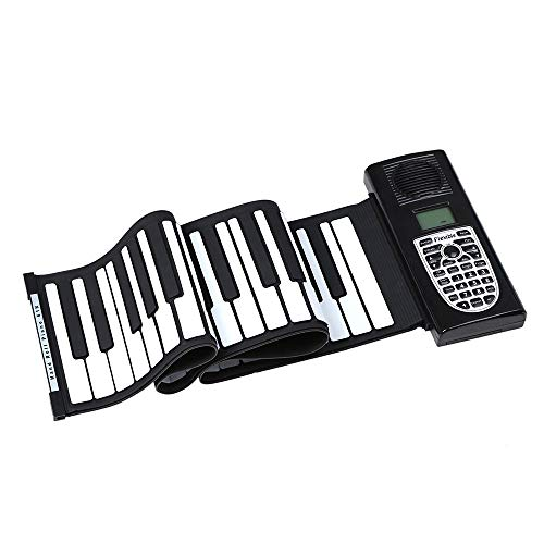 Portable Roll Up Piano 61 Keys Flexible Foldable Electric Digital Roll Up Keyboard Piano Soft Silicon With Recording Programming Play Functions MIDI Output LCD Display Built-in Speaker Headphone Jack