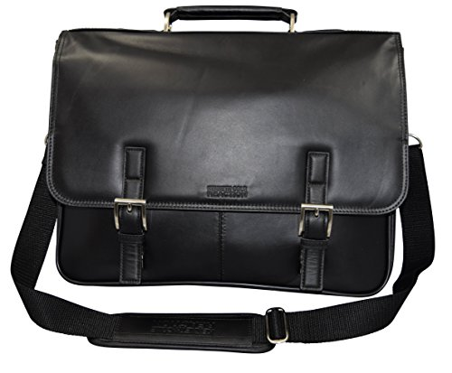 "Kenneth Cole Reaction ""A Brief History"" Leather Flapover Portafolio/ Business Briefcase Bag - Black"