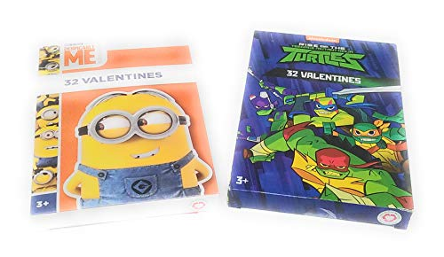 Happy Valentine's Day 32 Cards Despicable Me Minions and Rise of the Teenage Mutant Ninja Turtles (Valentine Day Cards Despicable Me)