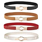 Women Skinny Belt for Dresses Retro Stretch Ladies Waist Belt Plus Size Set of 4 (Fits Waist 33''-42'', 08-black+brown+red+gold)