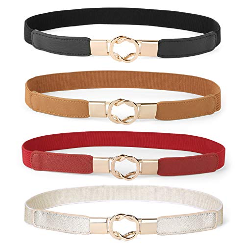 Women Skinny Belt for Dresses Retro Stretch Ladies Waist Belt Plus Size Set of 4 (Fits Waist 33
