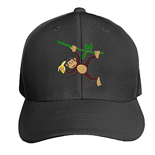 Monkey Cartoon Men's Structured Twill Cap Adjustable Peaked Sandwich Hat]()