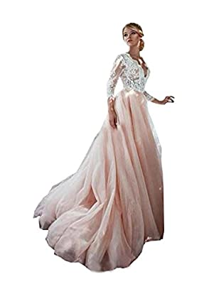 Ellystar Women's A-Line Tulle 3/4 Sleeves Covered Button V Neck Wedding Dresses