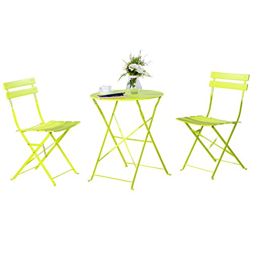 Grand patio 3-Pack Sling Glider Folding Steel 2 Chairs Round Table Indoor Corner Sets,Vivid Green Review
