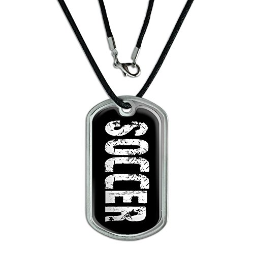 Graphics and More Soccer - Military Dog Tag Black Cord Necklace
