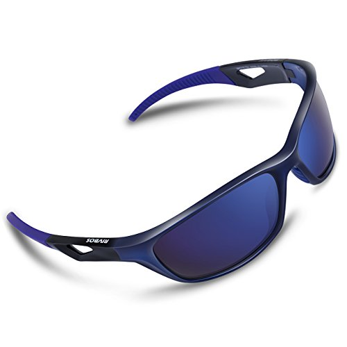 RIVBOS Polarized Sports Sunglasses Driving Sun Glasses for Men Women Tr 90 Unbreakable Frame for Cycling Baseball Running Rb831 (Blue Mirror - Top Players Softball