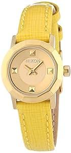 Nixon  Mini B - Reloj de cuarzo para mujer, con correa de cuero, color amarillo