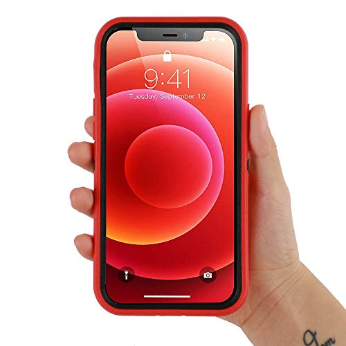 Co-Goldguard Phone Case Compatible with iPhone 12 Mini,Drop Protection Heavy Duty Hard 3 Layer Hybrid Strong Scratch-Resistant Shockproof Covers Durable Shell,Red