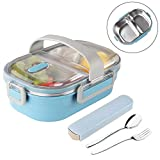 Arderlive Bento Lunch Box With portable utensils, 2-Sealed Compartment Leakproof Stainless Steel Lunch Container For Kids Or Adults, Bpa-Free(Blue)