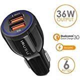 Irusu 6.0 Amp Dual USB Car Charger Fast Charging with Qualcomm Quick Charger QC 3.0 for All Apple and Android Phones