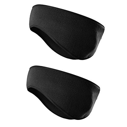 JOEYOUNG Fleece Ear Warmers/Muffs Headband for Men & Women Kids Perfect for Winter Running Yoga Skiing Work Out Riding Bike in Cold and Freezing Days (2PCS-Black)