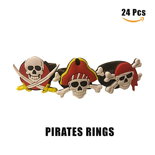 Cleverplay Pirate Party Favors Supplies 24 Pack Caribbean Pirates Silicone Wristbands Bracelets 24 Pack Pirate Toy Rings Great Kids Birthday Parties Pirate Events by Cleverplay (Image #2)