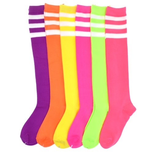 (Angelina 6-Pair NEON Referee Knee High Socks with White Stripes)