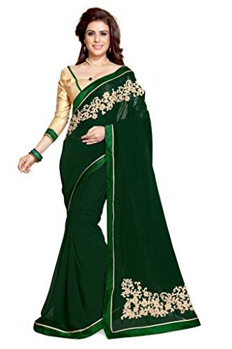 Mirchi-Fashion-Womens-Dark-Green-Faux-Georgette-Embroidered-Fancy-Wear-Saree